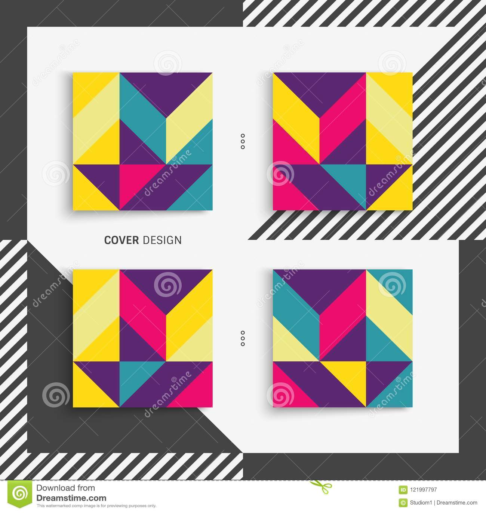 Molde do projeto da tampa para anunciar Projeto geométrico colorido abstrato