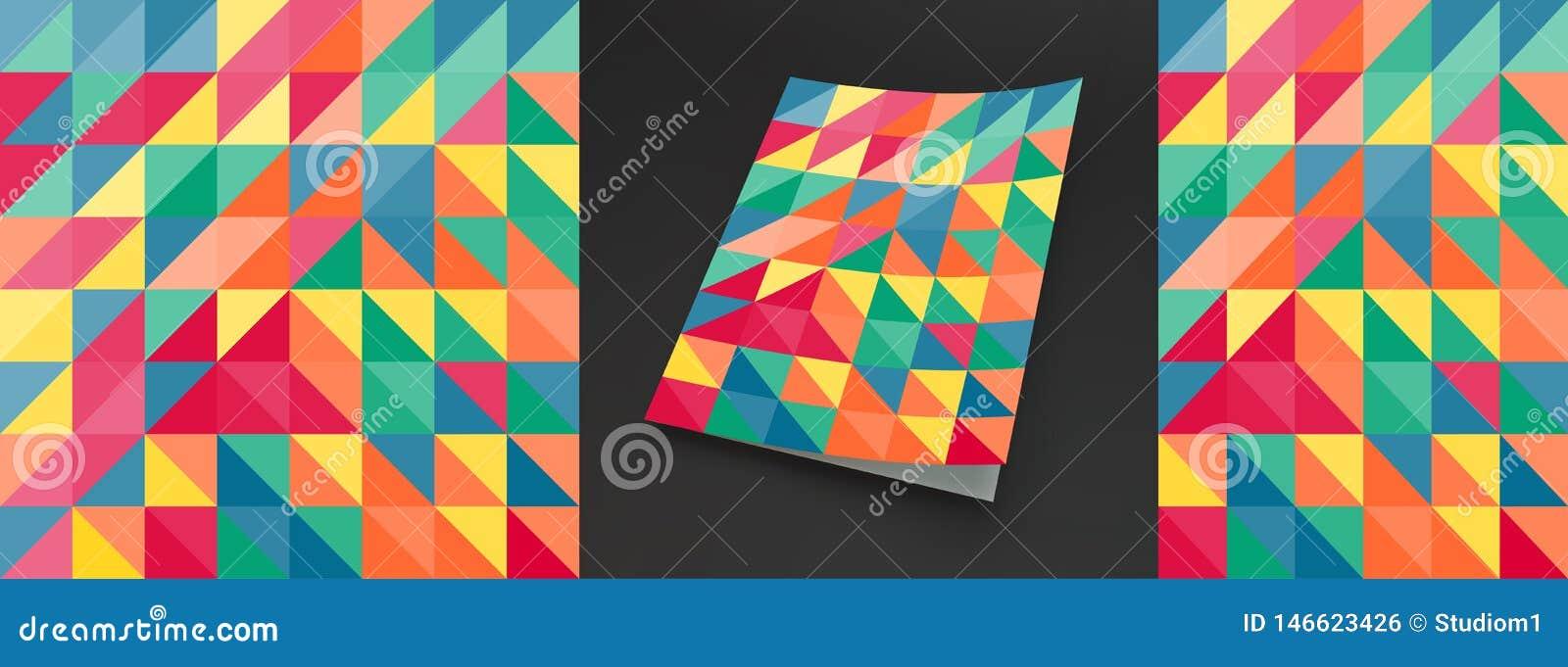 Molde do projeto da tampa para anunciar Projeto geom?trico colorido abstrato O teste padr?o pode ser usado como um molde para o f