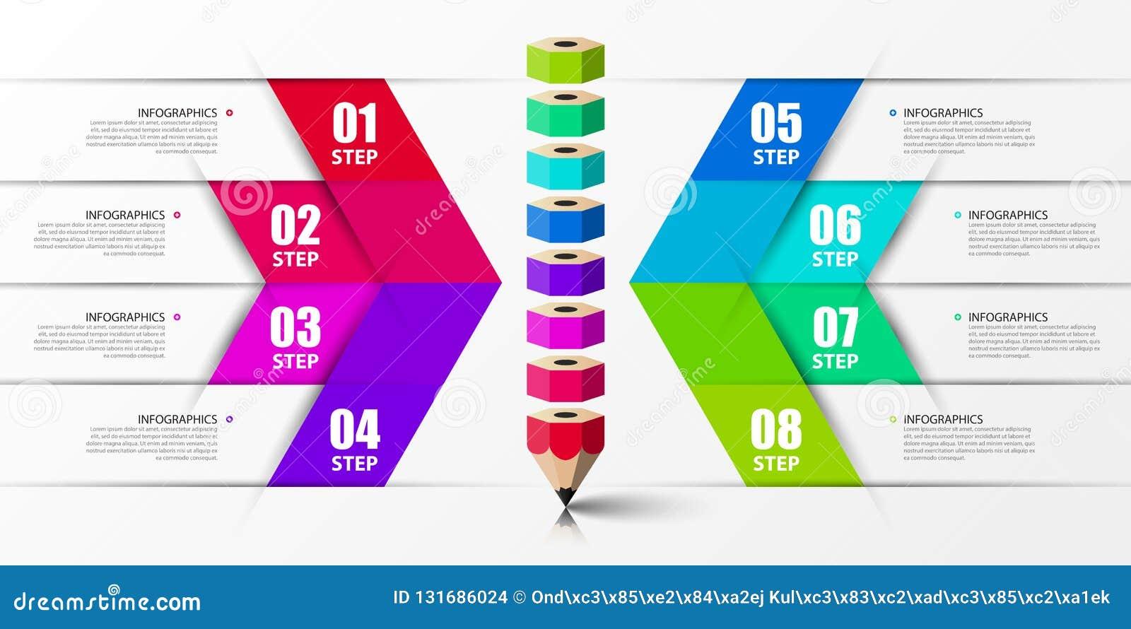 Molde do projeto de Infographic Conceito criativo com 8 etapas Pode ser usado para a disposição dos trabalhos, diagrama, bandeira