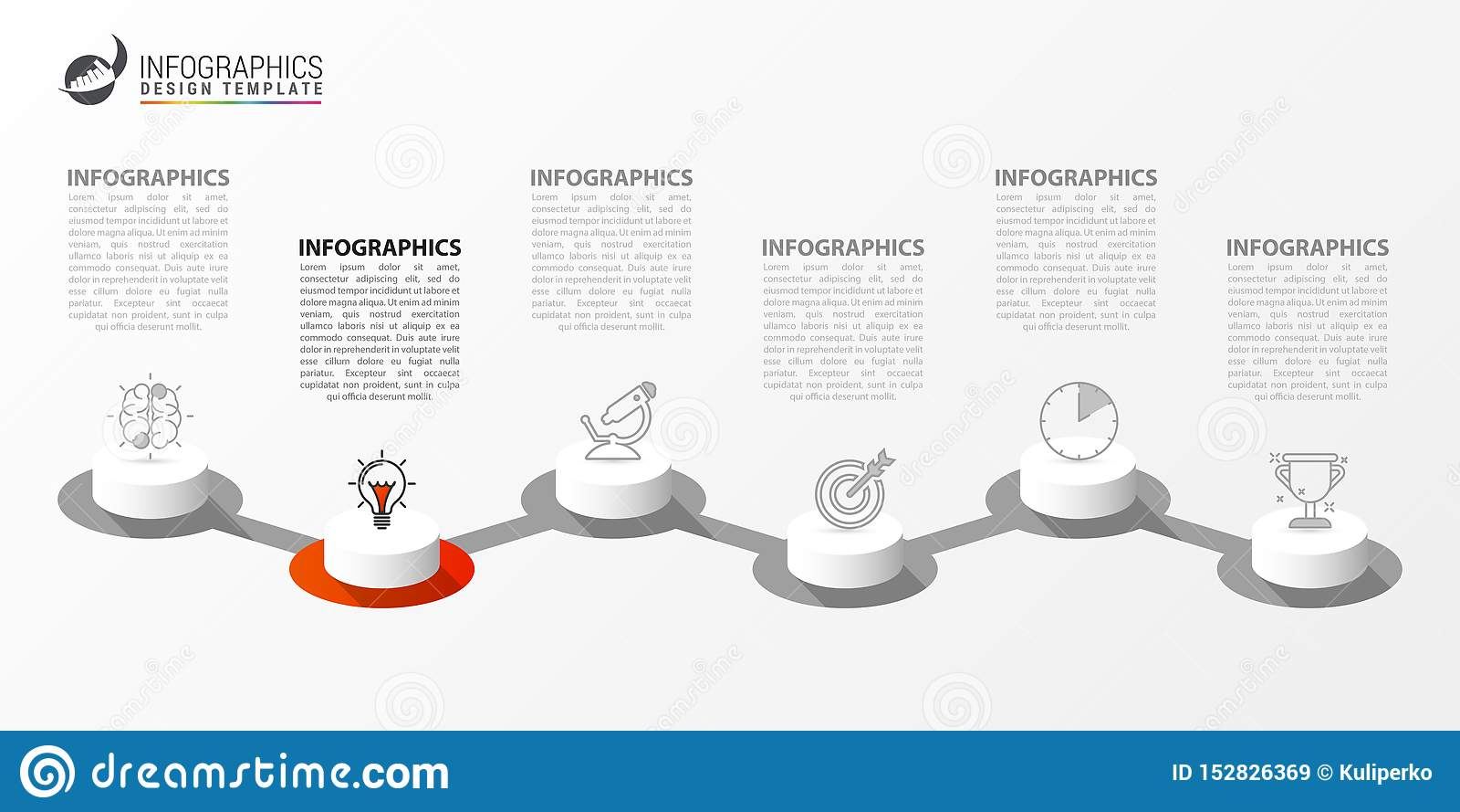Molde do projeto de Infographic Conceito criativo com 6 etapas