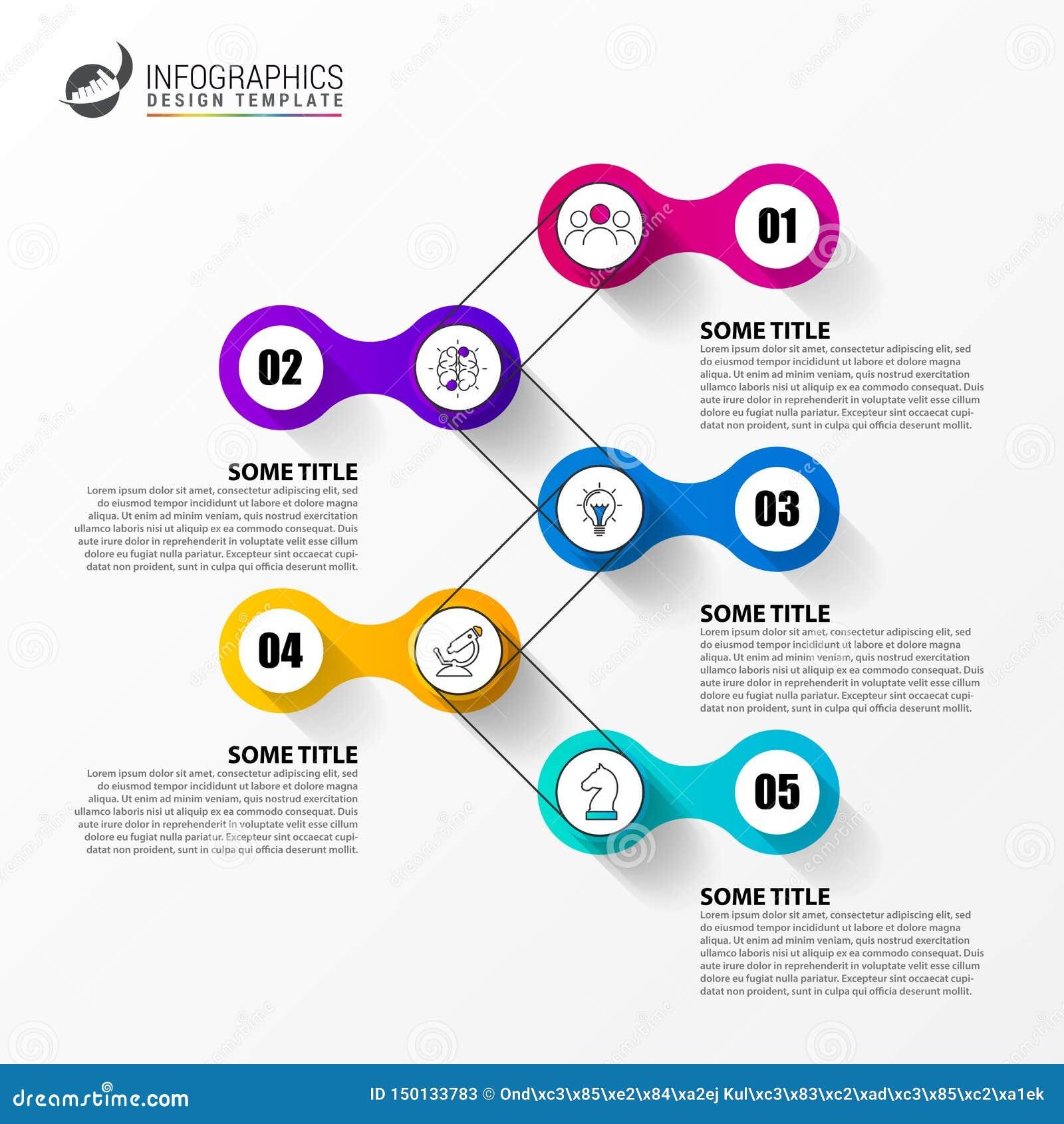 Molde do projeto de Infographic Conceito do espa?o temporal com 5 etapas