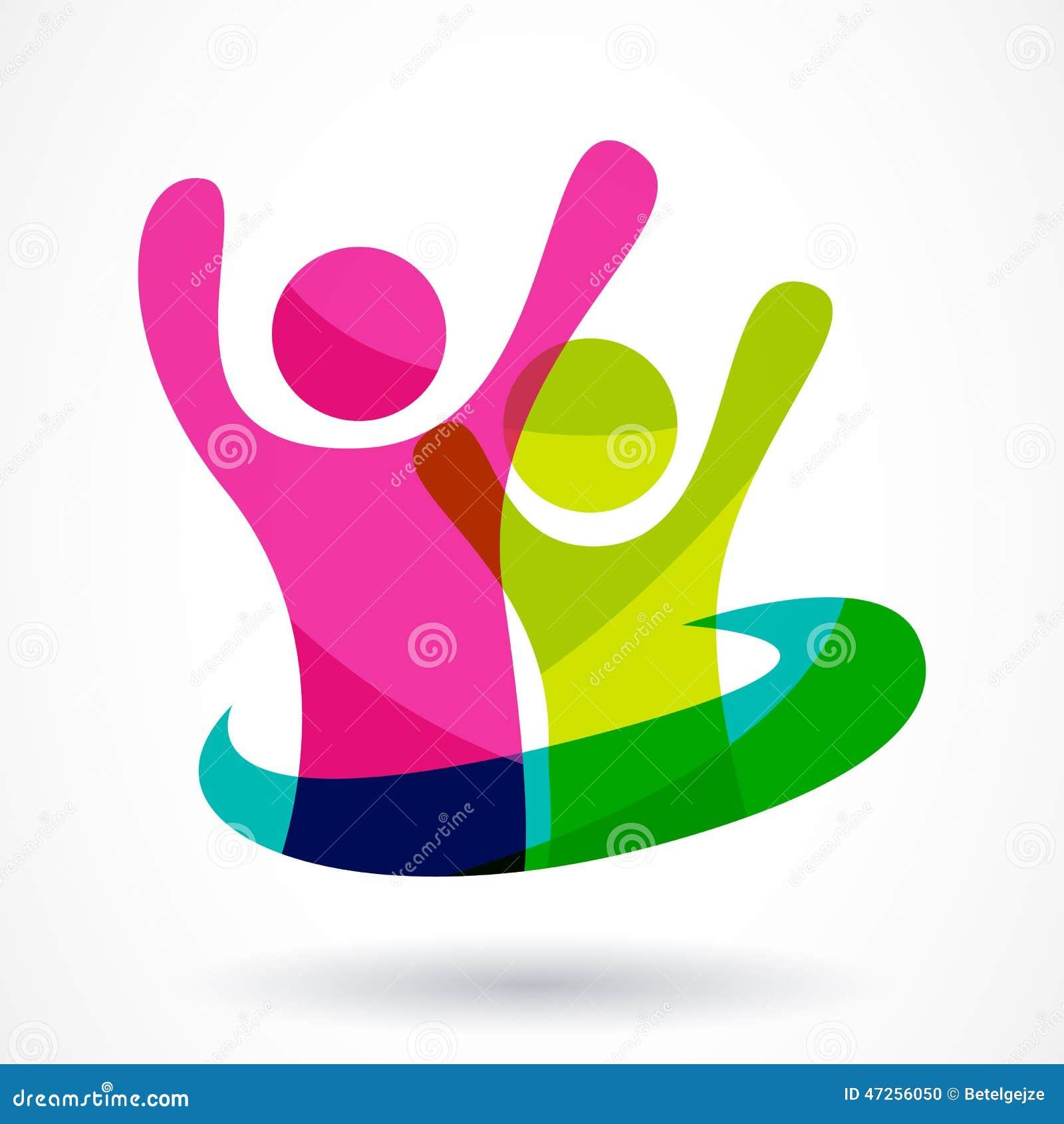 Molde do projeto do logotipo do vetor Illu feliz abstrato colorido dos povos