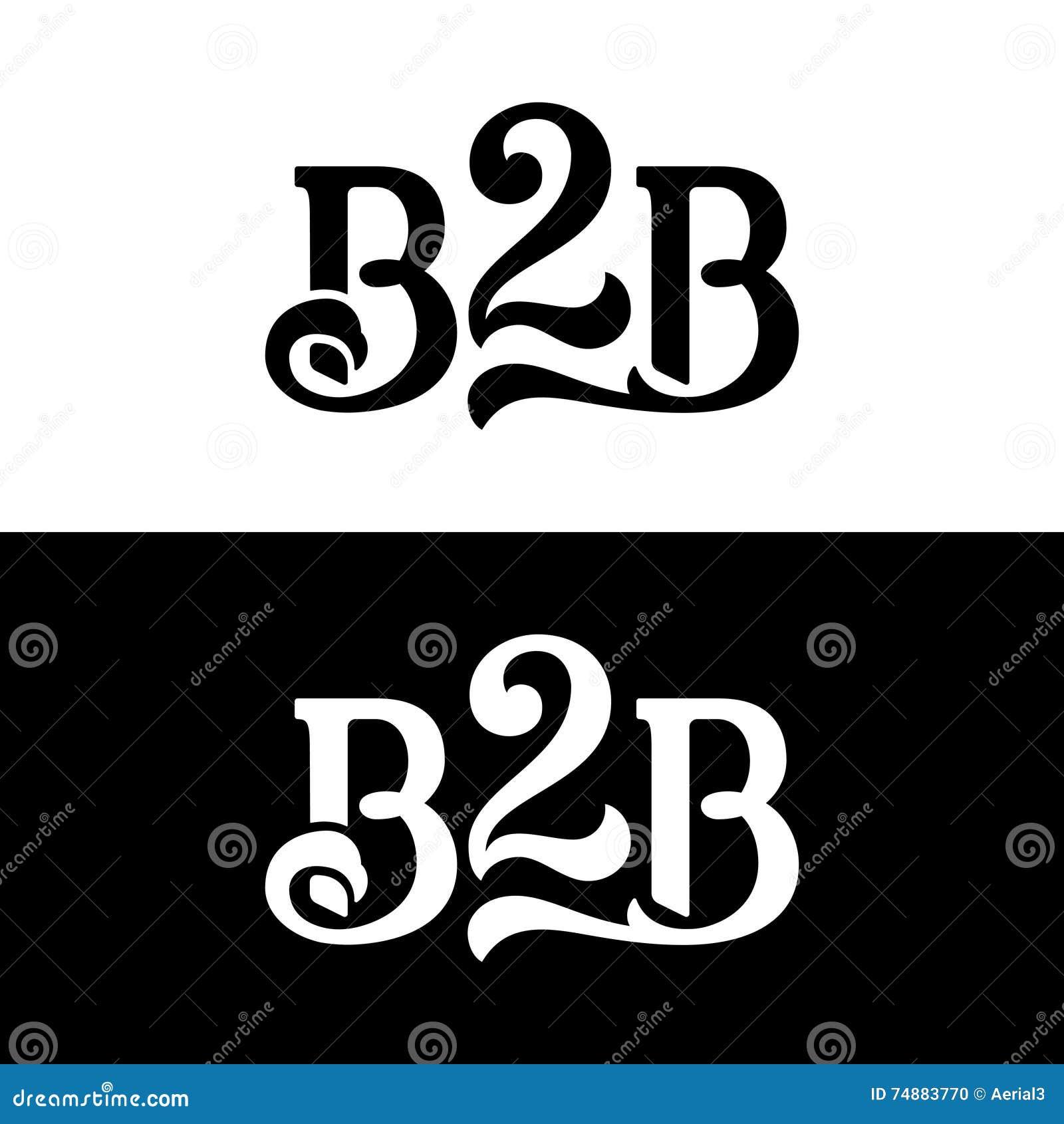 Molde do projeto do vetor do logotipo de B2B no branco e no preto