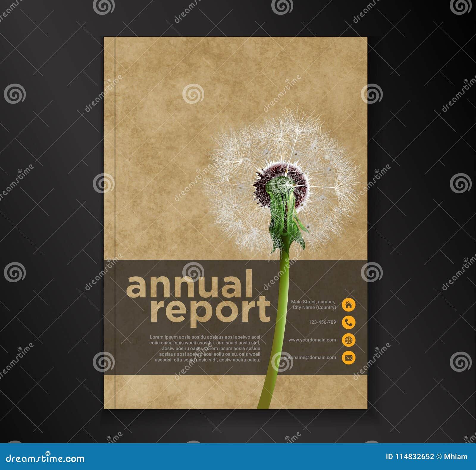 Molde do projeto do inseto do folheto do informe anual do dente-de-leão, fundo liso do sumário da apresentação da tampa do folhet