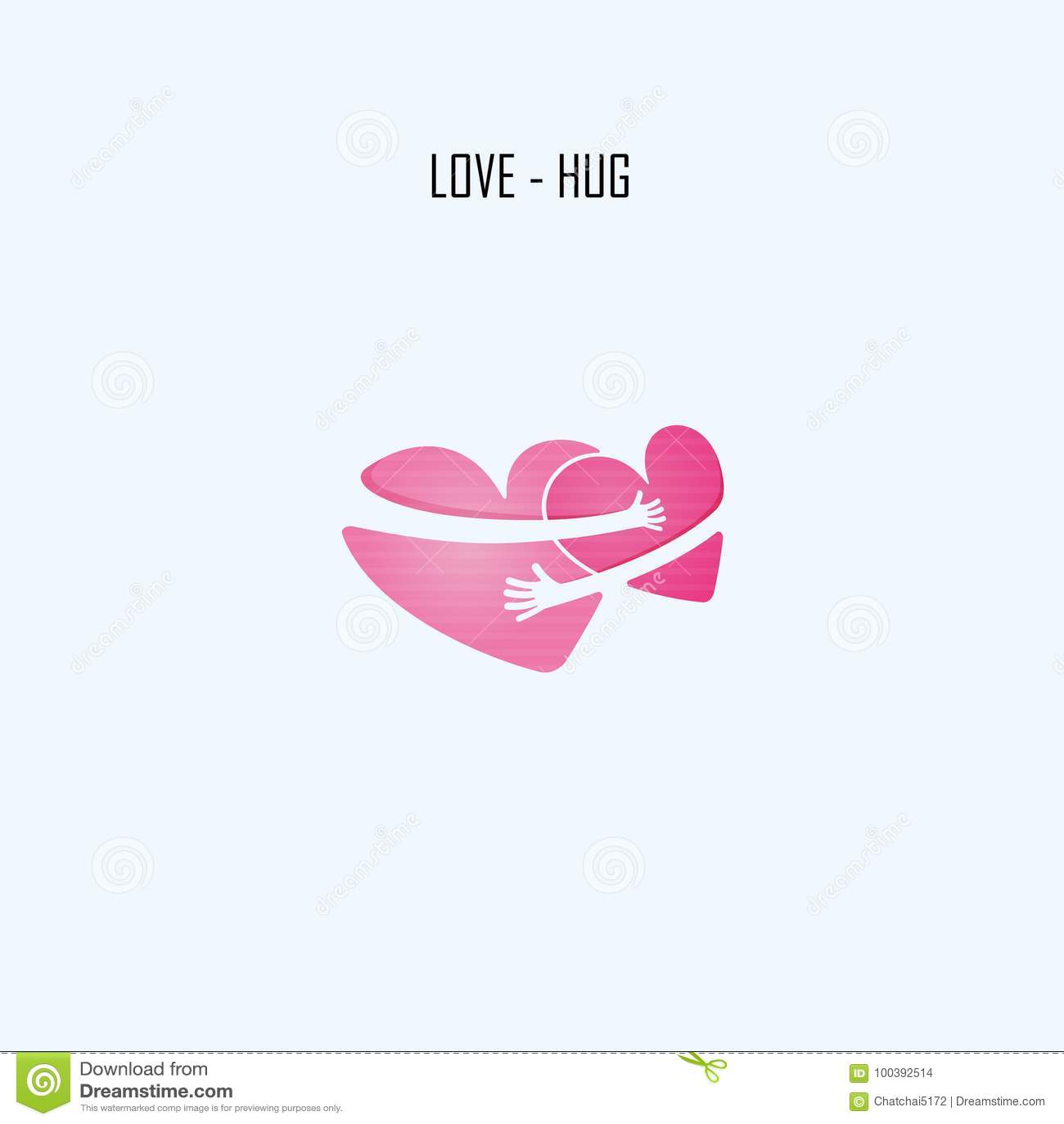 Molde do projeto do logotipo do vetor de LOVE-HUG Auxílio & amor