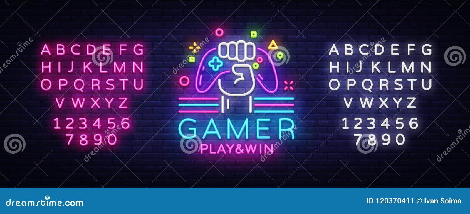 Molde do projeto do logotipo do vetor do sinal de néon do logotipo da vitória do jogo do Gamer Logotipo da noite do jogo no estil