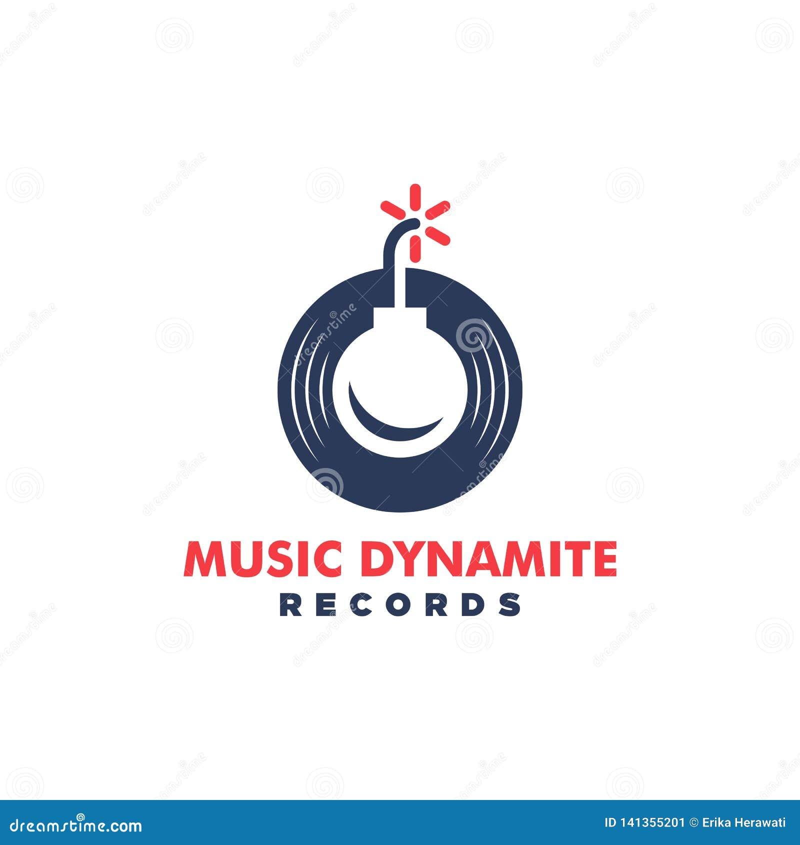 Molde do projeto do vetor da ilustração do conceito da dinamite da música