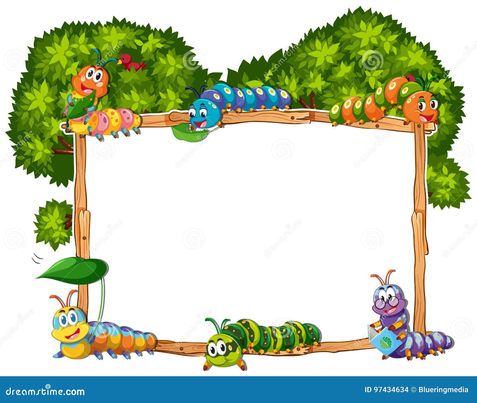 Molde do quadro com lagarta e árvore