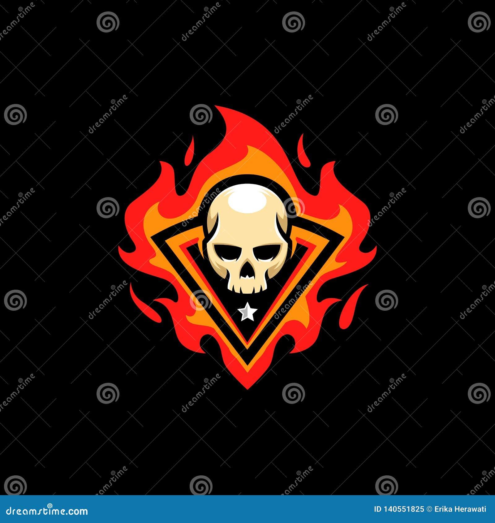 Molde do vetor da ilustração do fogo do crânio