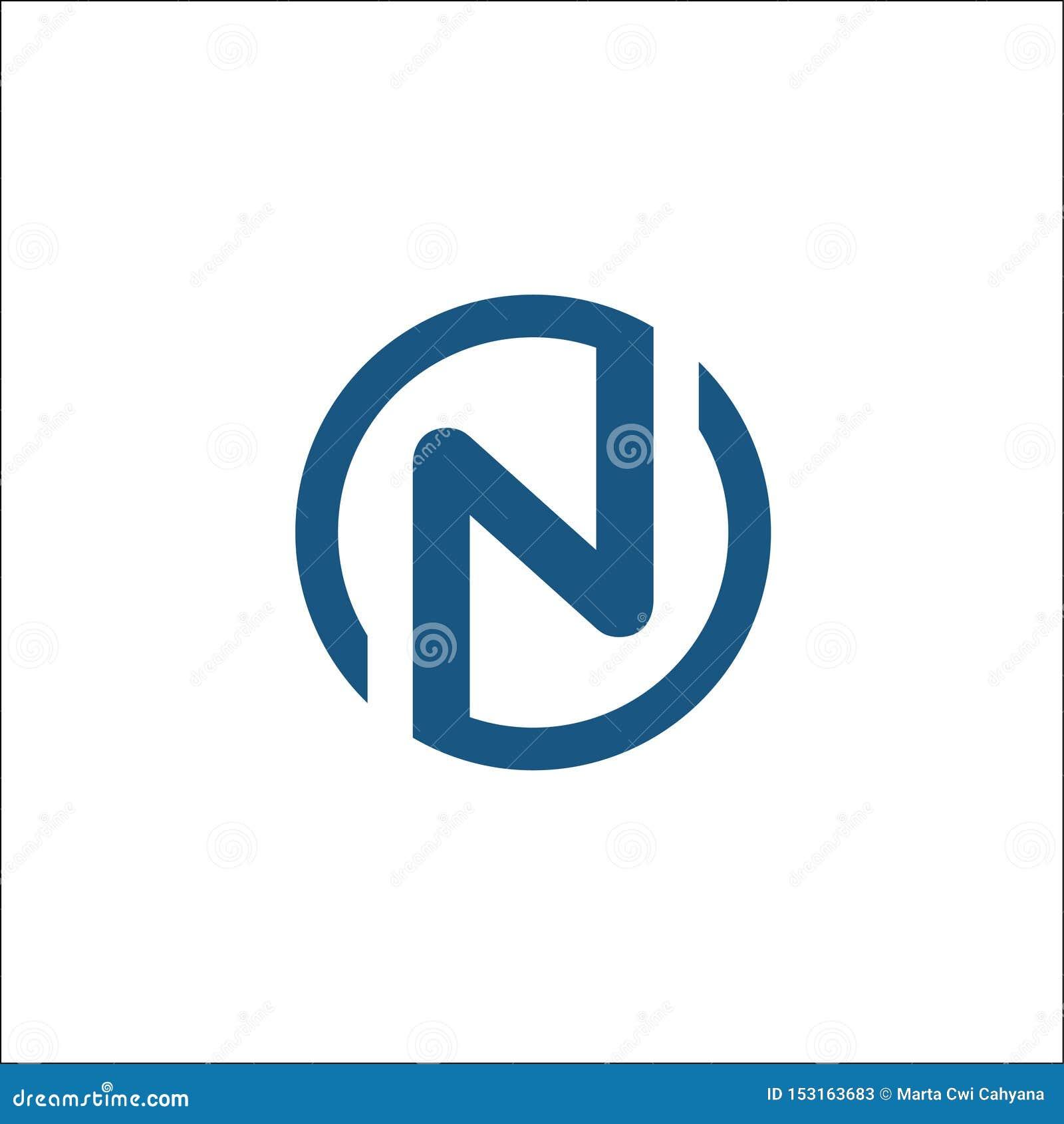 Molde do vetor do logotipo do círculo das iniciais N, círculo da letra N