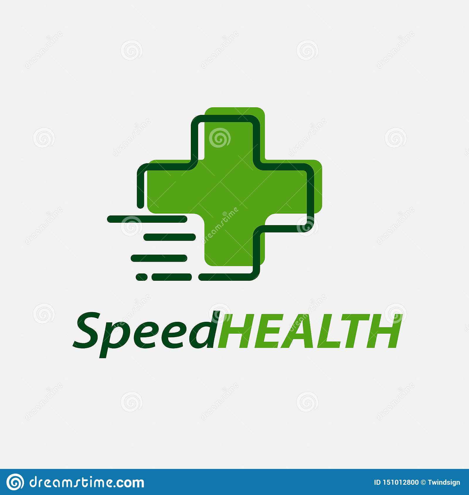 Molde do vetor do projeto do logotipo da saúde da velocidade