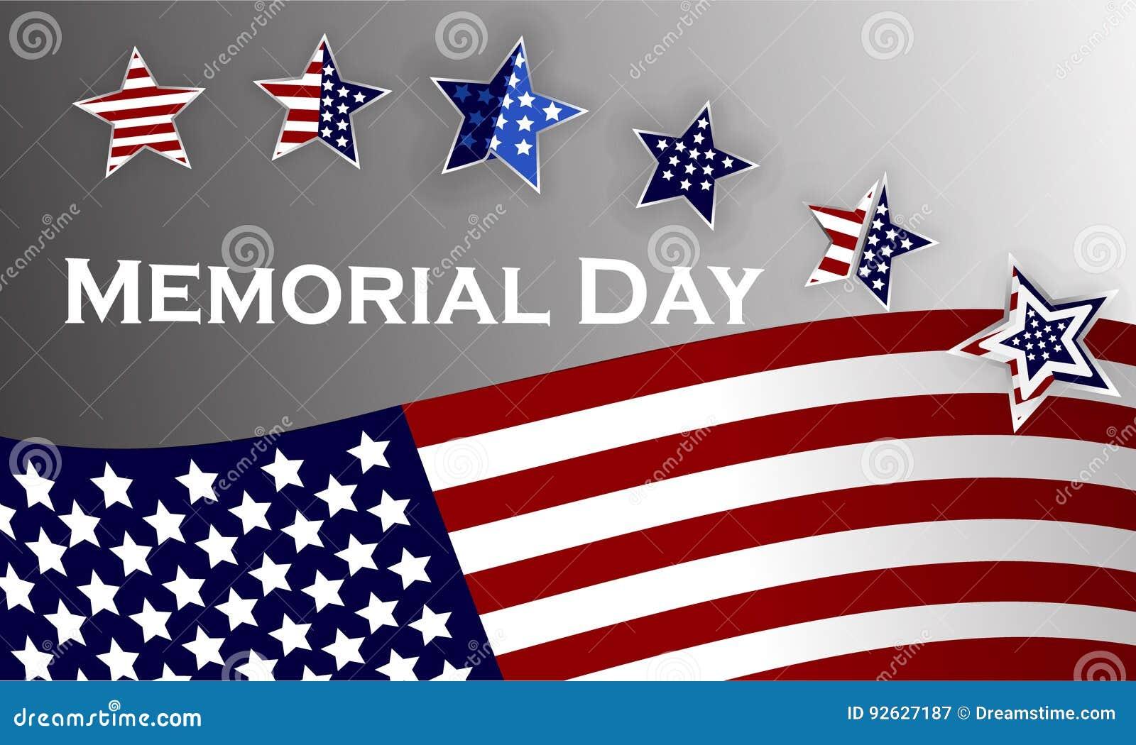 Molde feliz do fundo de Memorial Day Estrelas e bandeira americana Bandeira patriótica Ilustração do vetor