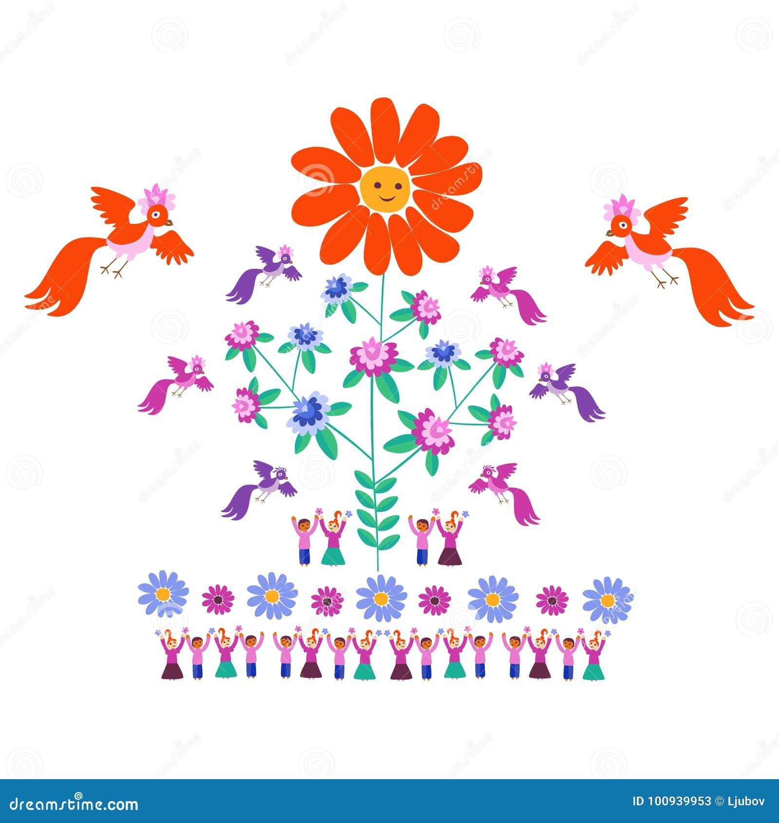 Molde Festivo Para O Bordado Flor Sun Arvore De Florescencia
