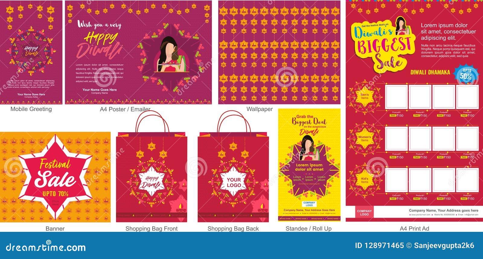 Molde grande da venda da oferta do festival de Diwali com cumprimento móvel, encarregado do envio da correspondência ou aviador,