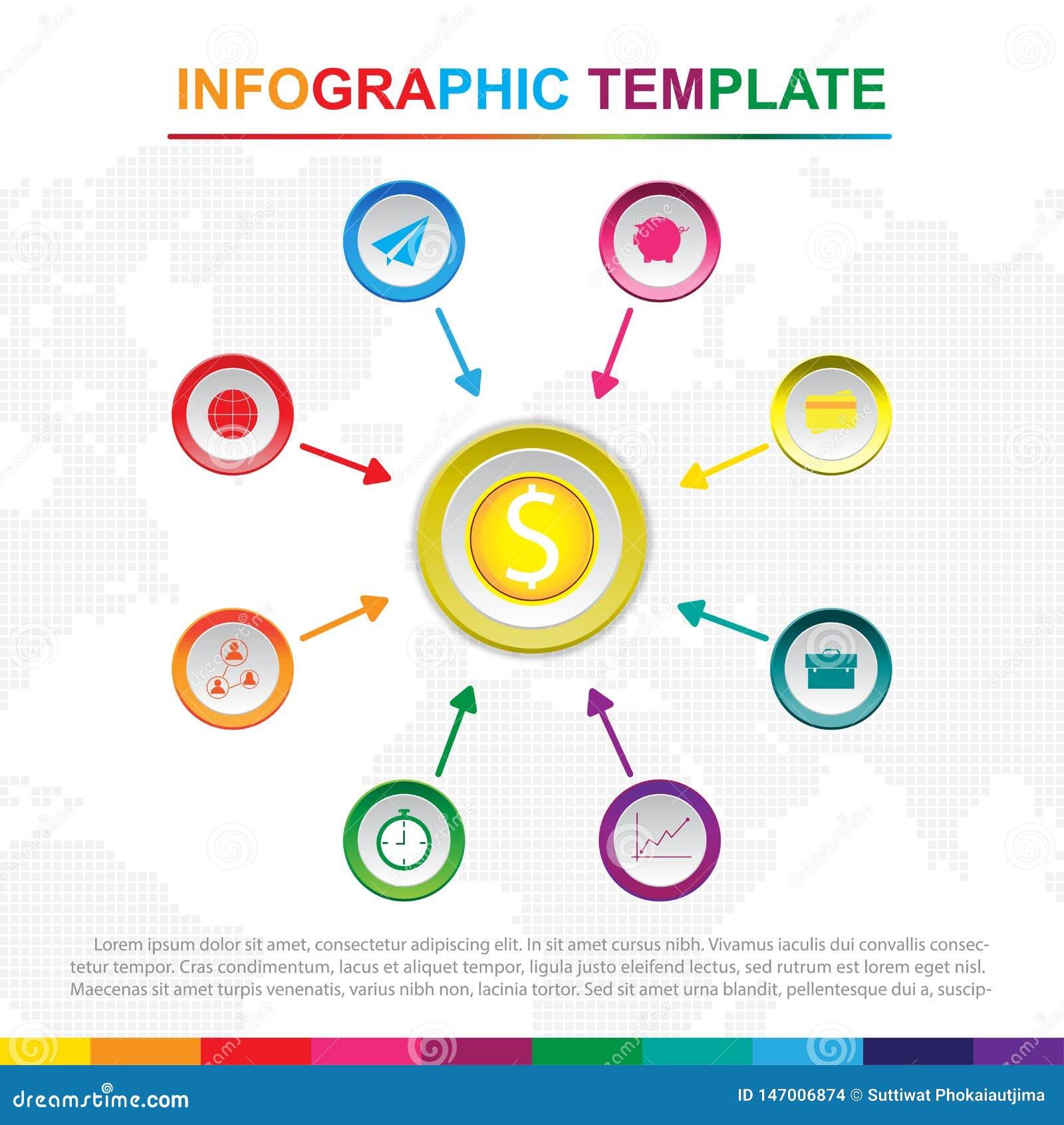 Molde infographic colorido com 9 t?tulos, diagrama com etapas