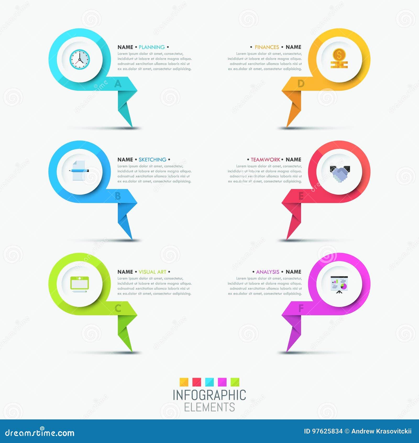 Molde infographic criativo do projeto - 6 elementos indicados por letras coloridos
