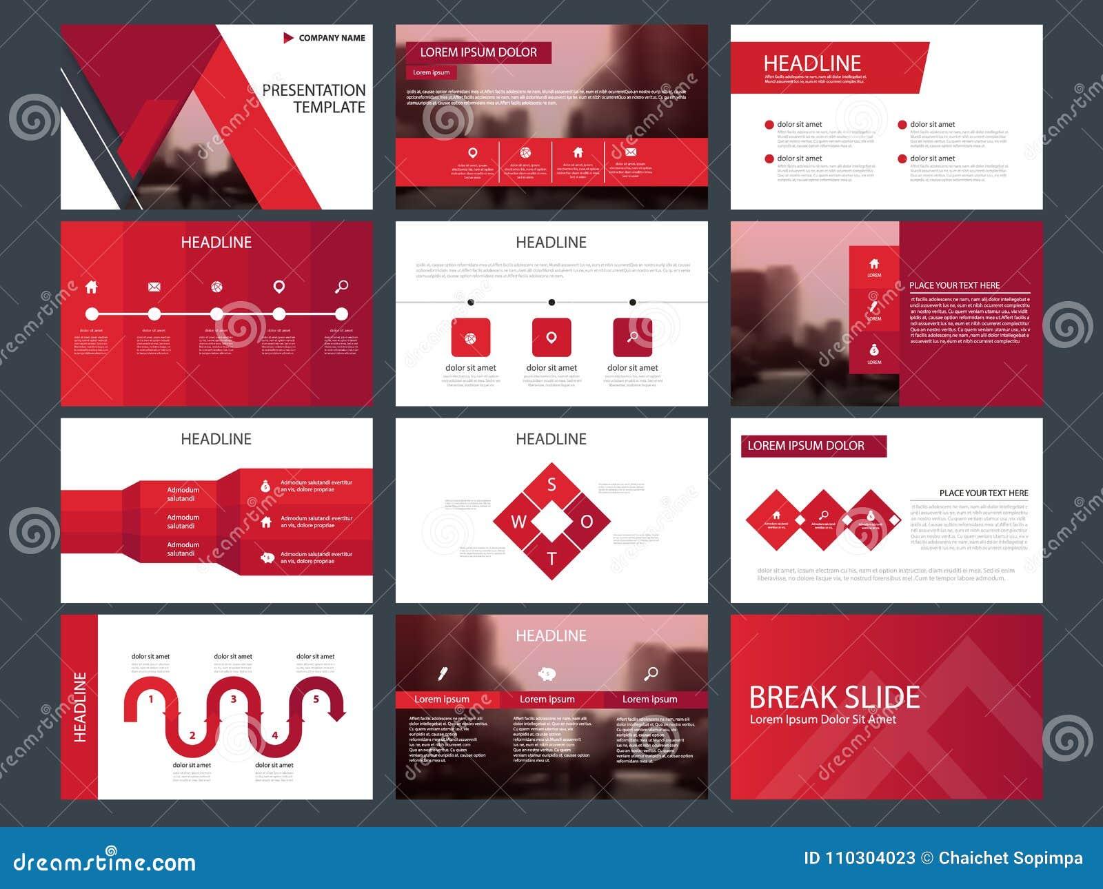 Molde infographic da apresentação dos elementos do pacote vermelho do triângulo informe anual do negócio, folheto, folheto, inset