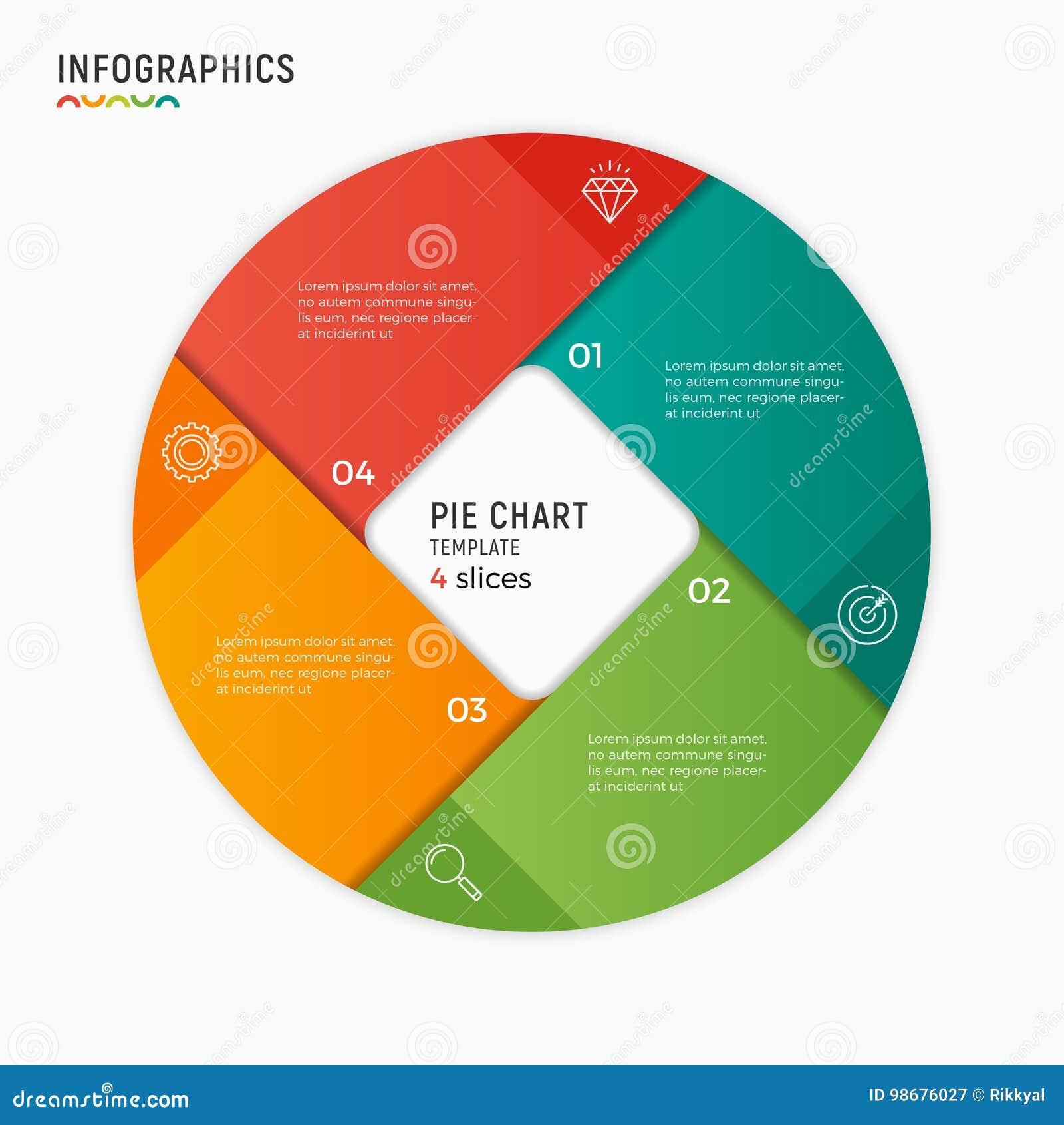 Molde infographic da carta do círculo do vetor 4 opções, etapas, parte