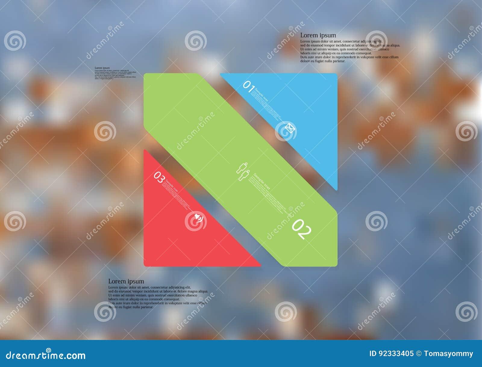 Molde infographic da ilustração com o oblíquo do retângulo dividido a três peças autônomas da cor