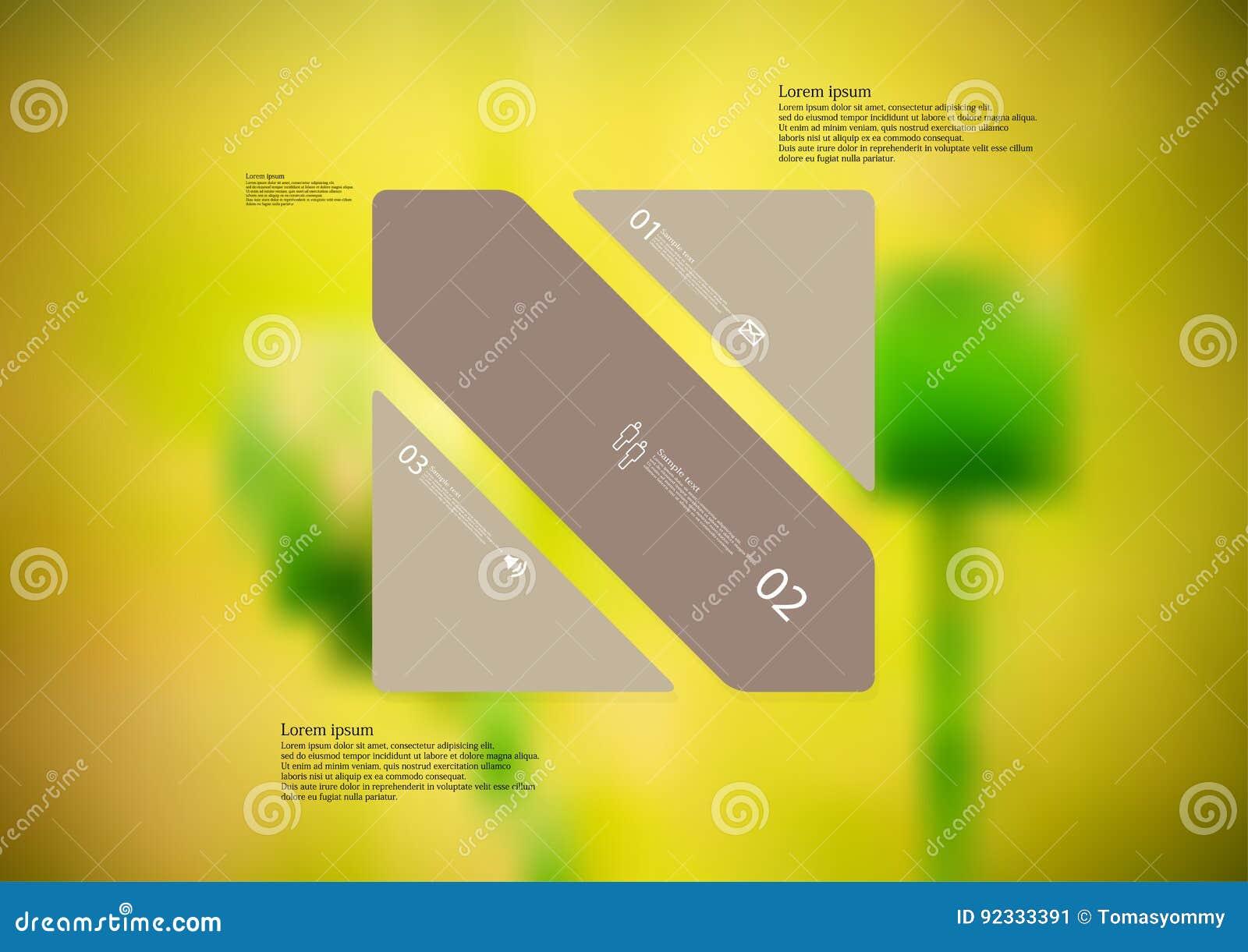 Molde infographic da ilustração com o oblíquo do retângulo dividido a três porções marrons autônomas