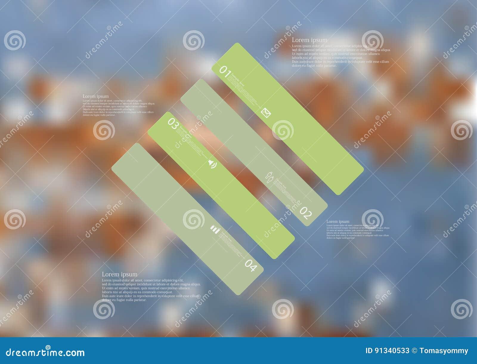 Molde infographic da ilustração com o oblíquo do rombo dividido a quatro porções verdes autônomas