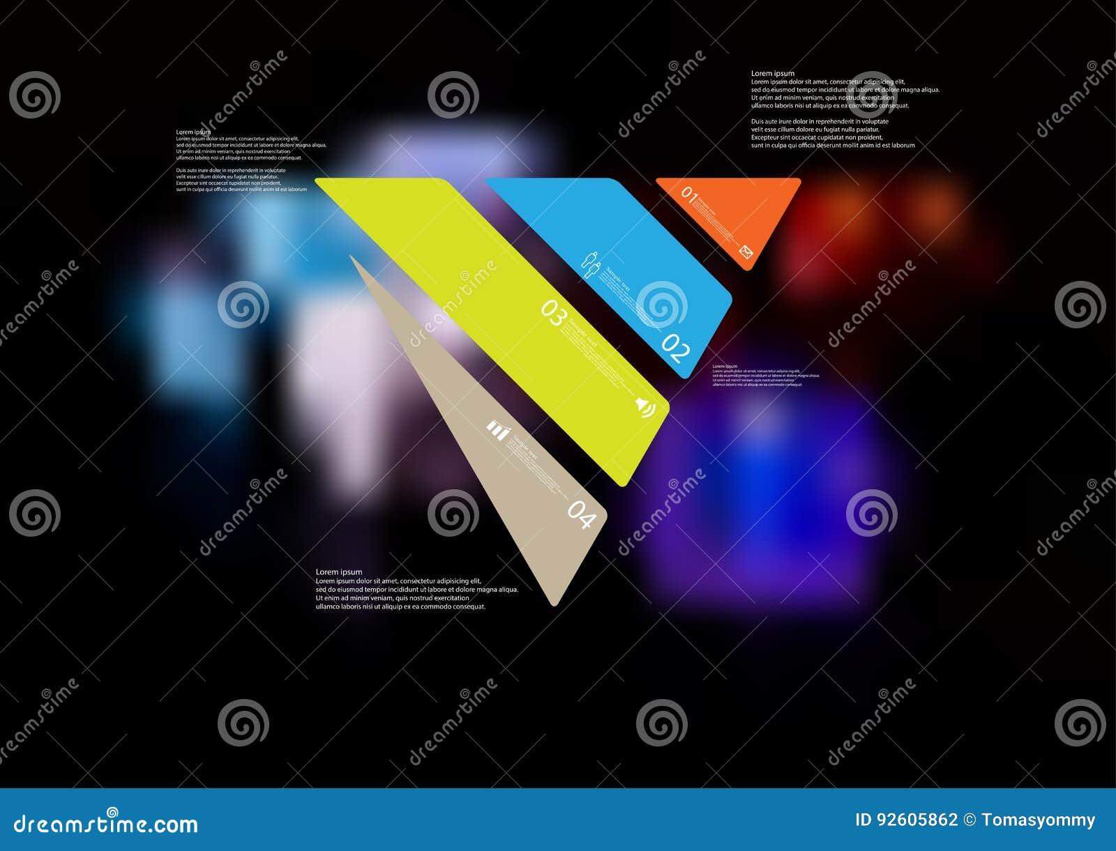 Molde infographic da ilustração com o oblíquo do triângulo dividido a quatro peças autônomas da cor