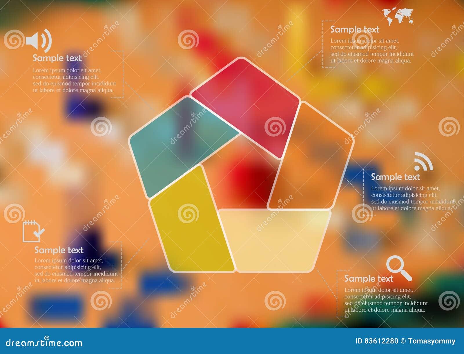 Molde infographic da ilustração com o pentagon da cor dividido a cinco porções