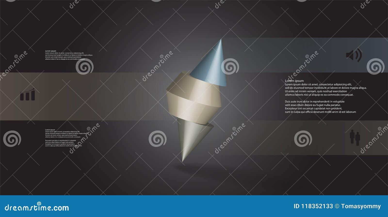 Molde infographic da ilustração 3D com o cone cravado cortado a três porções e arranjado obliquamente