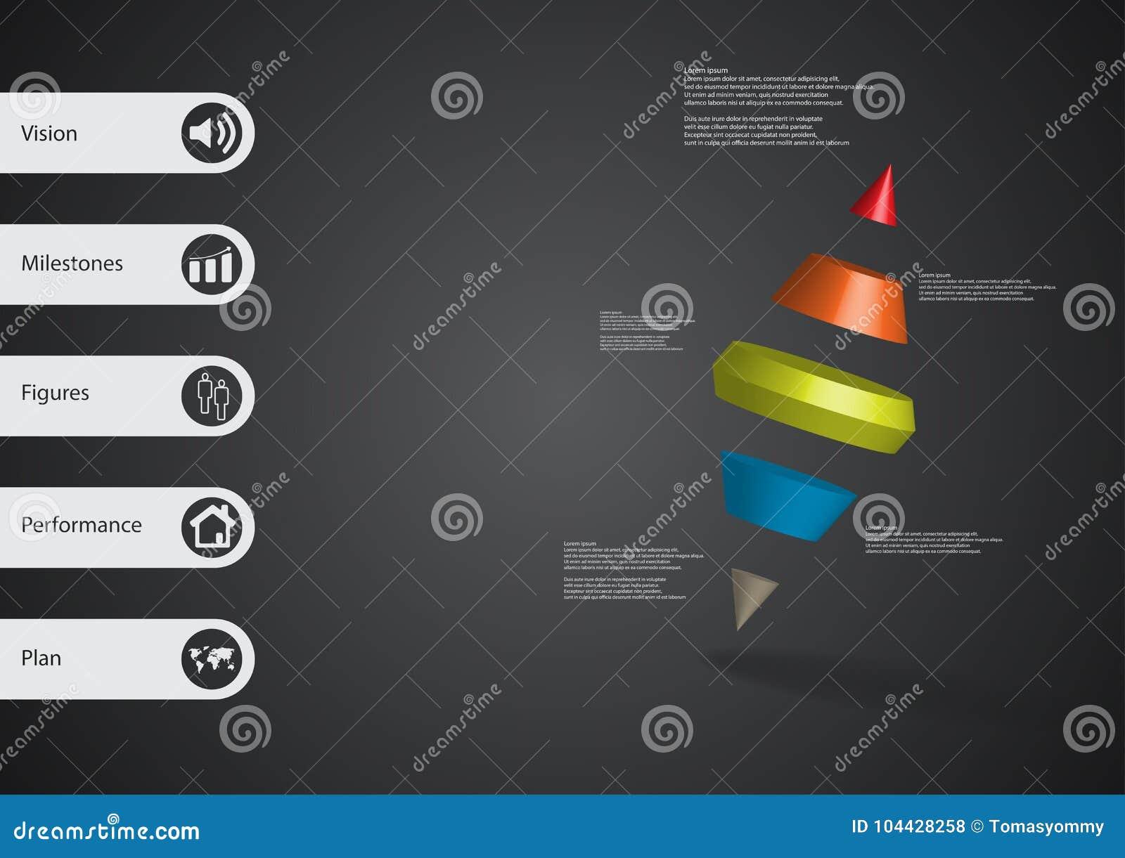 Molde infographic da ilustração 3D com o cone de dois pontos dividido a cinco porções oblíquo arranjado