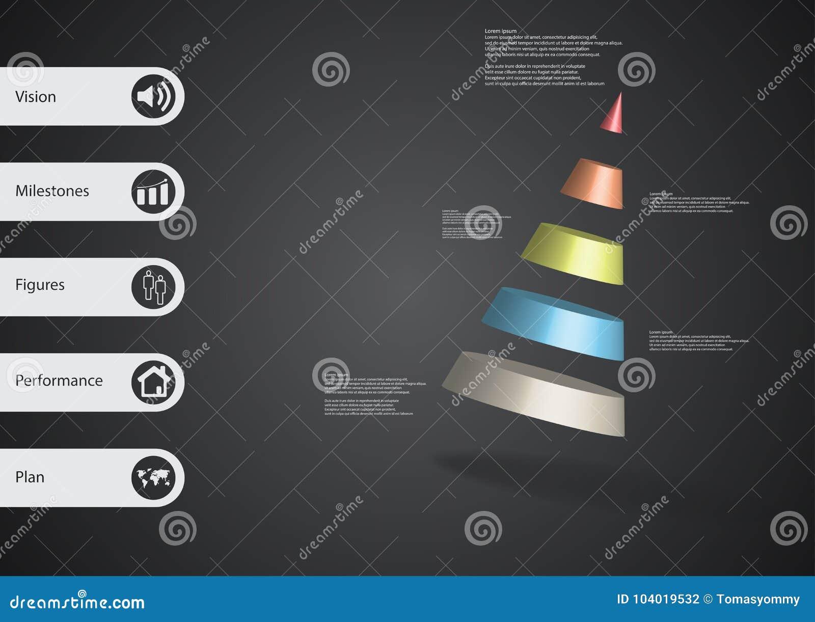 Molde infographic da ilustração 3D com o cone dividido a cinco porções oblíquo arranjado