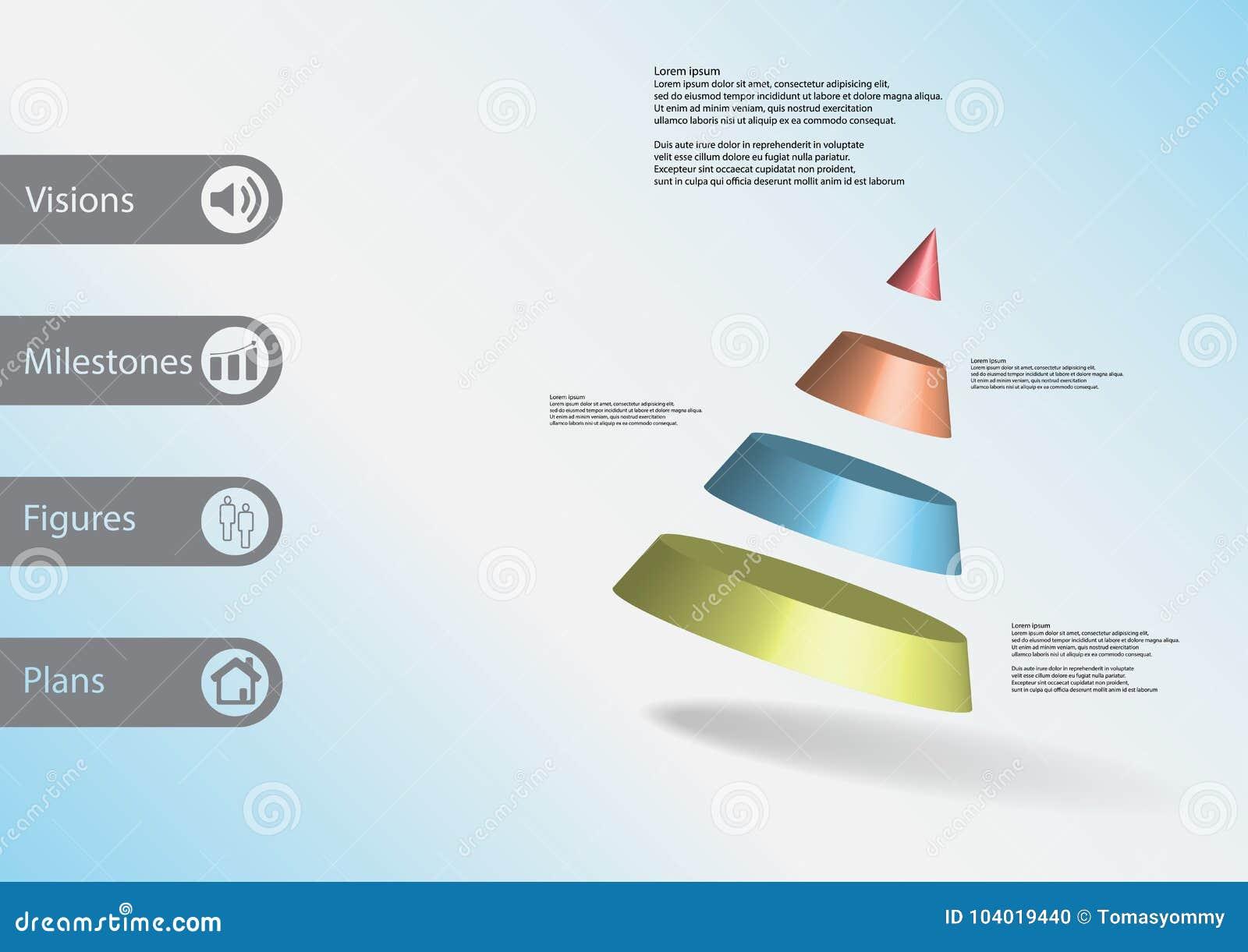Molde infographic da ilustração 3D com o cone dividido a quatro porções oblíquo arranjado
