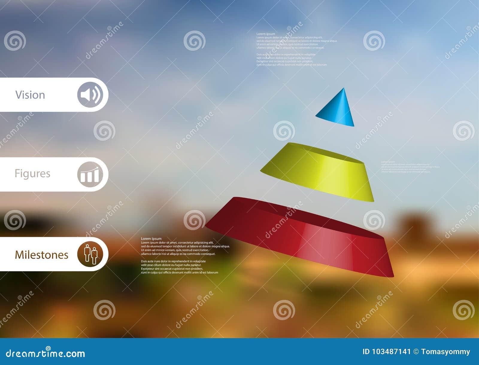 Molde infographic da ilustração 3D com o cone dividido a três porções oblíquo arranjado