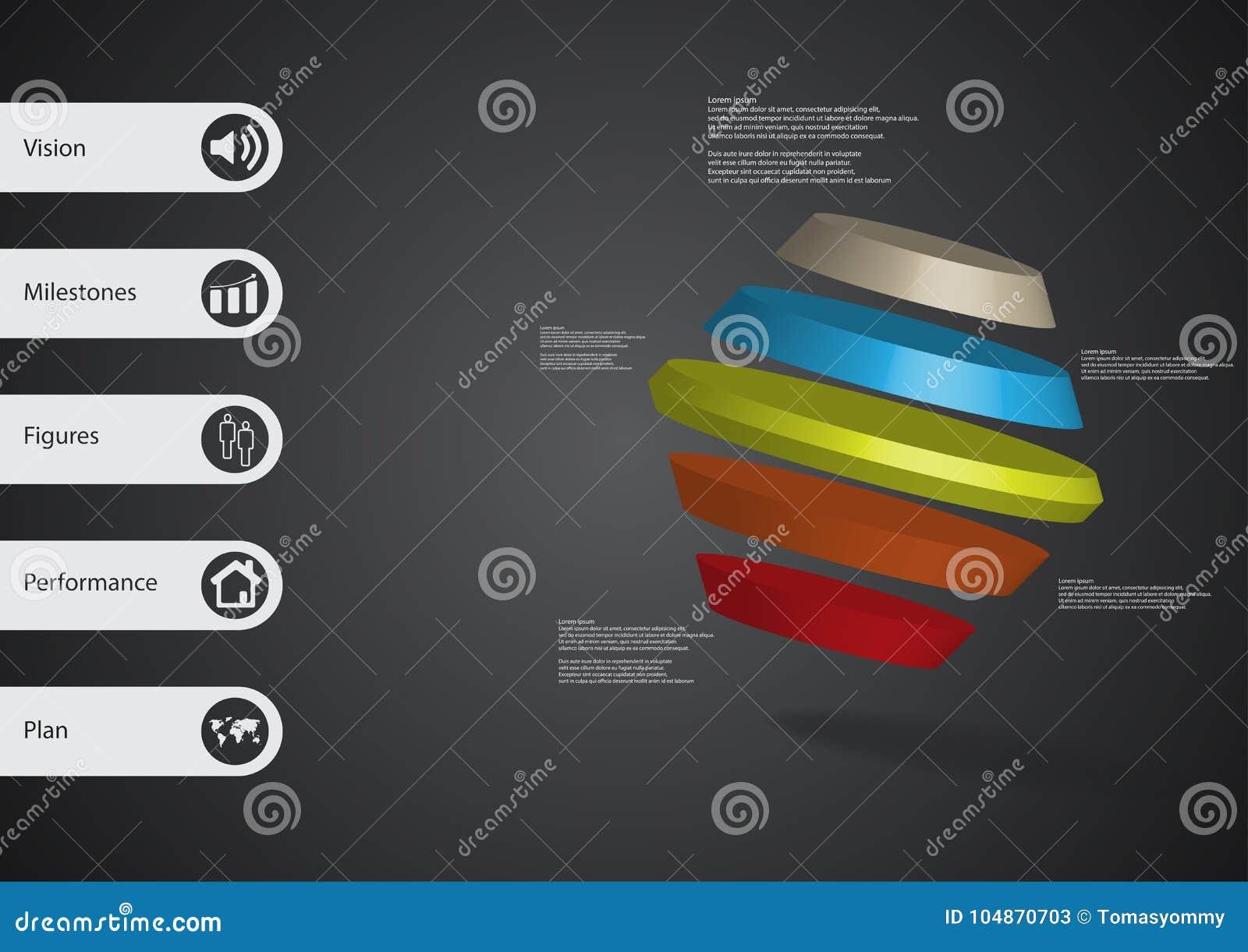 Molde infographic da ilustração 3D com o hexágono girado dividido a cinco porções oblíquo arranjado