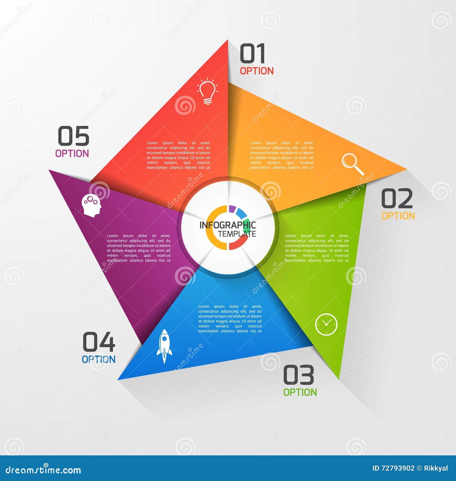 Molde infographic do círculo do estilo do moinho de vento para gráficos, cartas