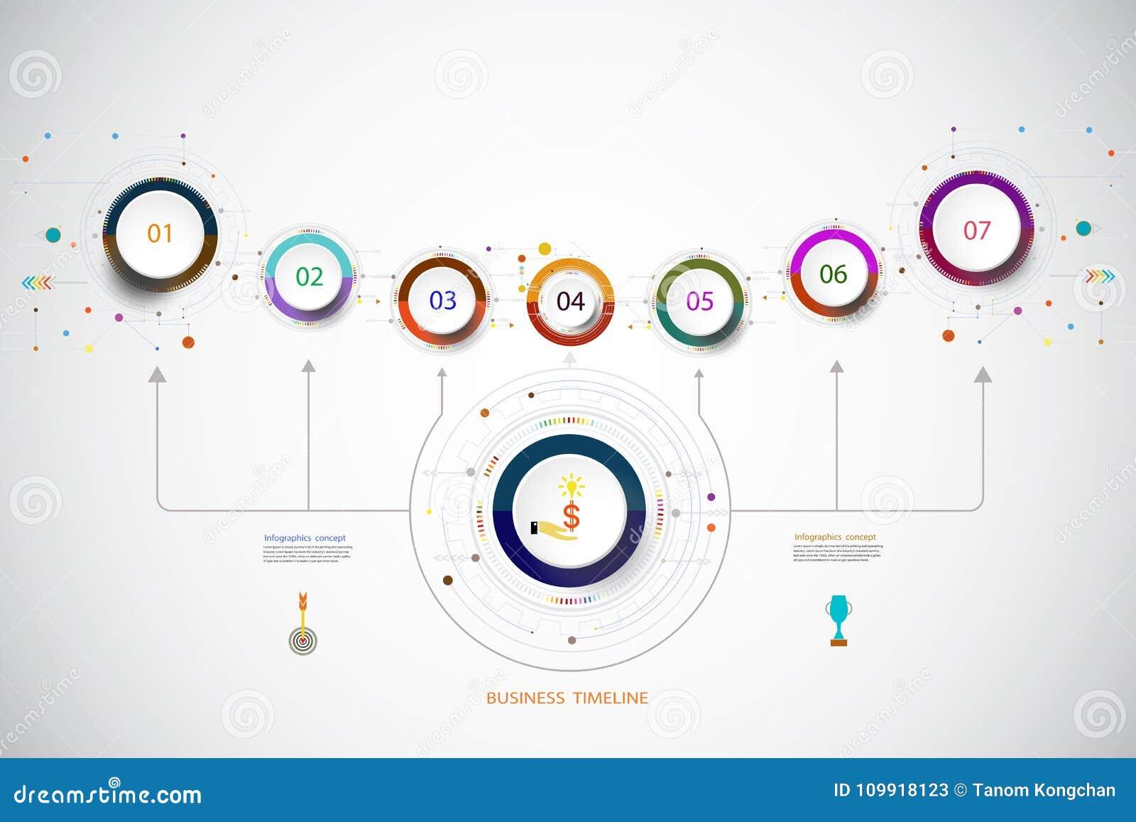 Molde Infographic Do Vetor Com Etapa Do Número 7 Foto De Stock