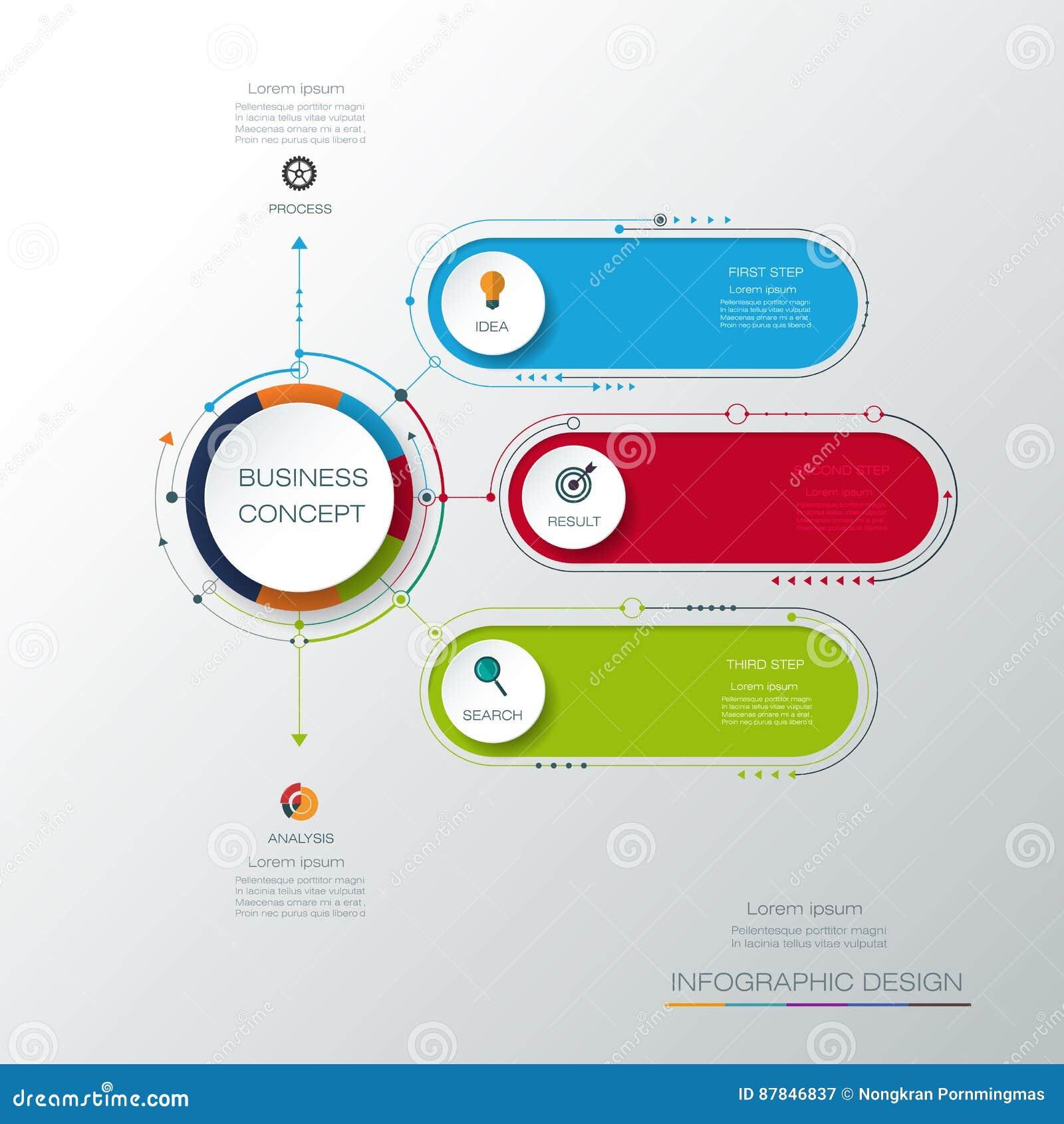 Molde infographic do vetor com etiqueta do papel 3D, círculos integrados Conceito do negócio com opções