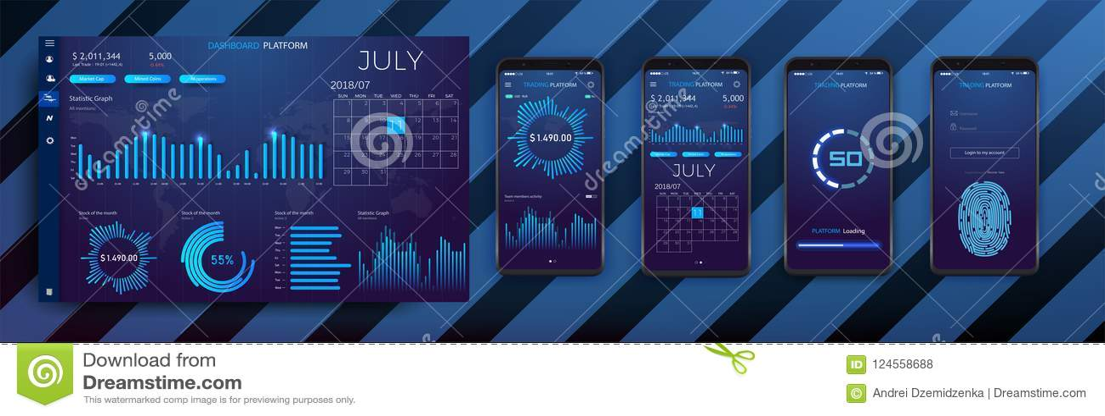 Molde infographic móvel do app com gráficos semanais e anuais do projeto moderno das estatísticas