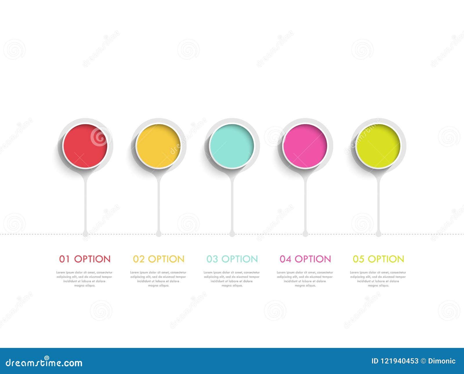 Molde infographic moderno do sumário 3D com cinco etapas Molde do círculo de negócio com opções para o folheto, diagrama Eps 10