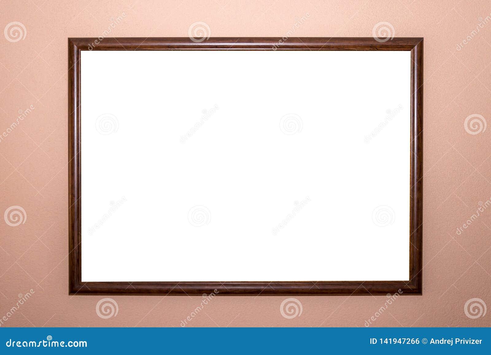 Molde isolado branco do trajeto de grampeamento do projeto mínimo da moldura para retrato da casa