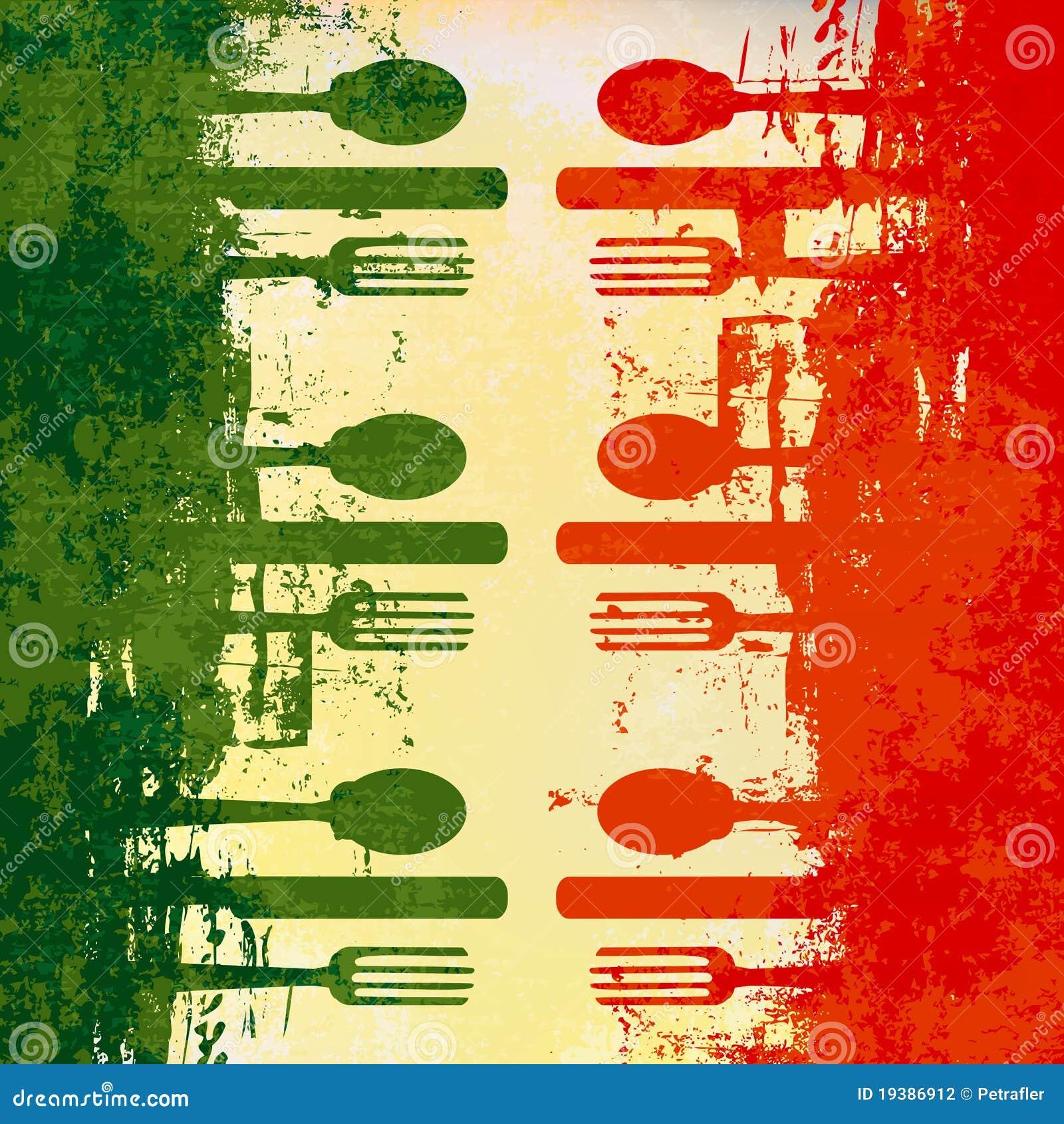 Molde italiano do menu