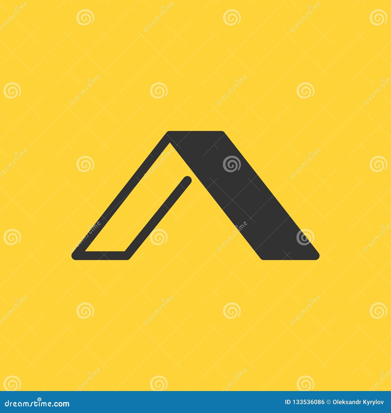 Molde linear e liso do logotipo elegante da letra inicial A do projeto, ilustração do vetor isolada no fundo amarelo