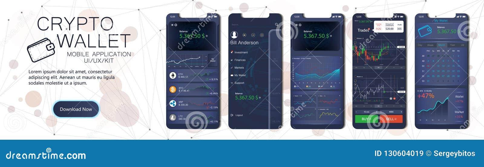 Molde móvel do app da carteira cripto