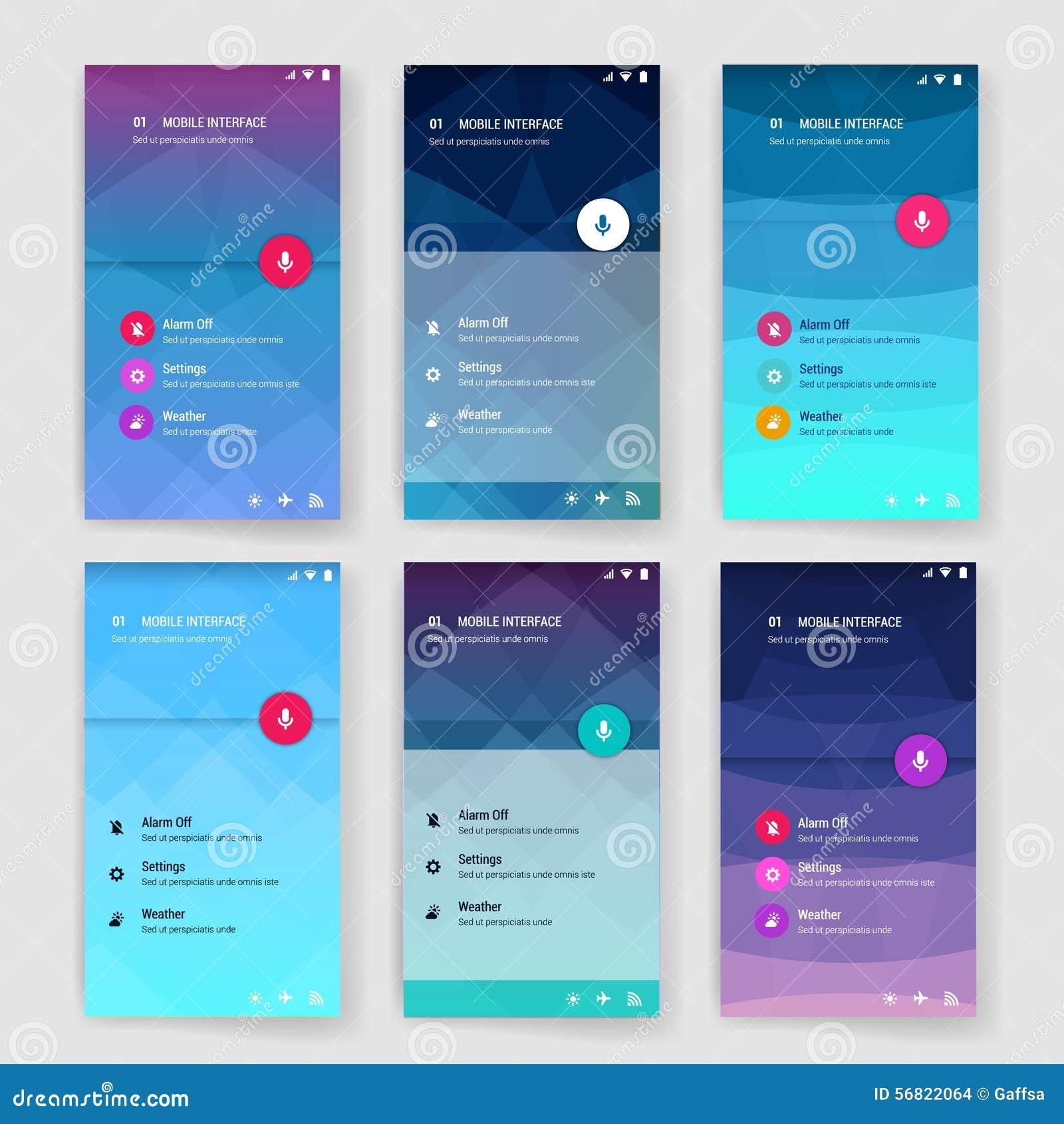 Molde moderno da tela da interface de utilizador para o móbil