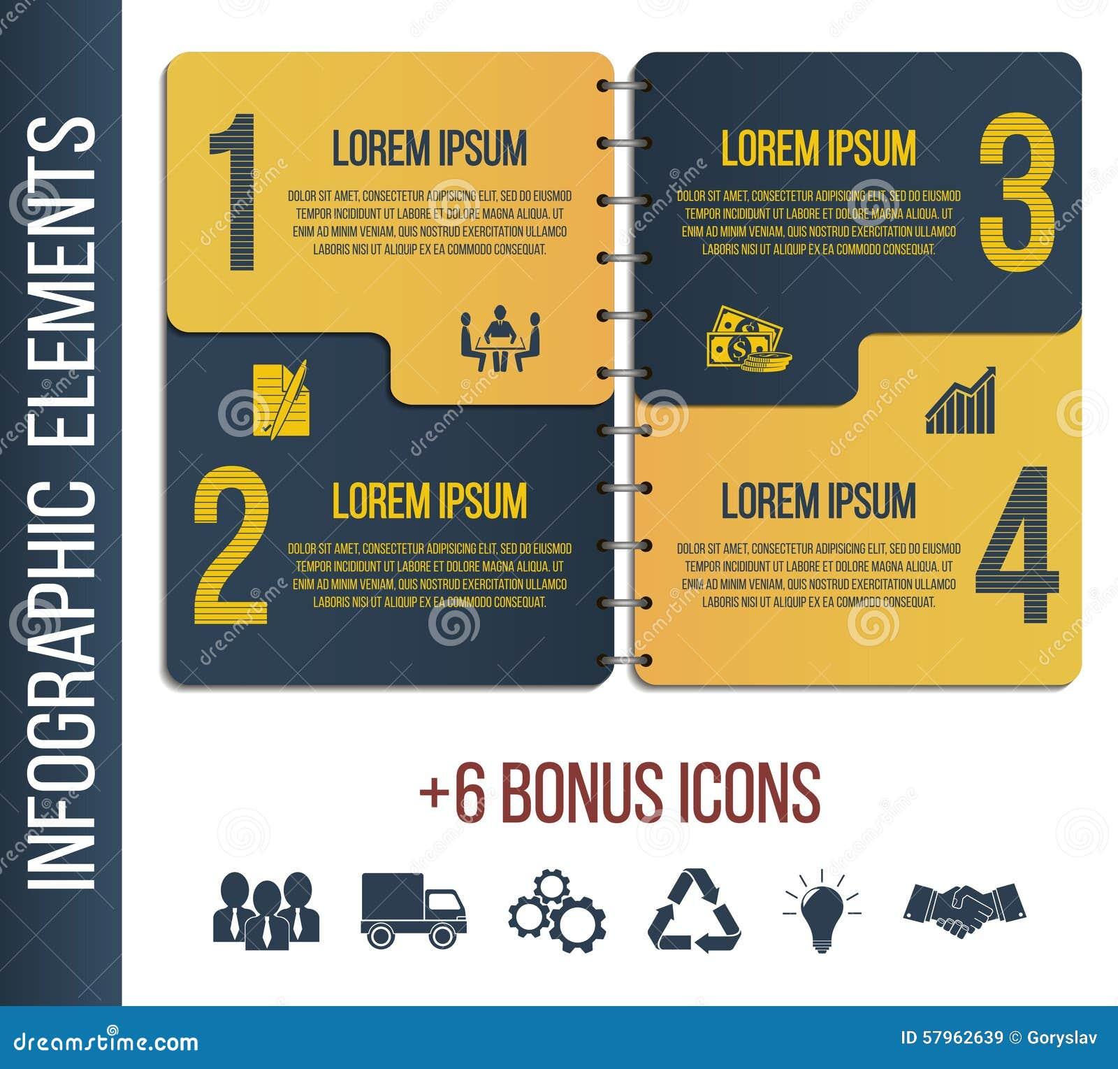 Molde ou local passo a passo do folheto de Infographic com ícones integrados