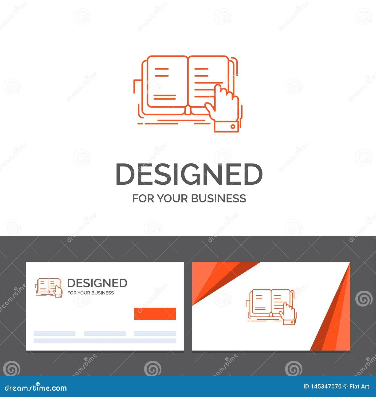 Molde para o livro, lição do logotipo do negócio, estudo, literatura, leitura Cart?es de visita alaranjados com molde do logotipo