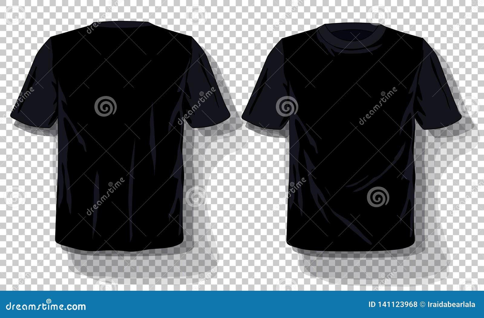 Molde preto ajustado isolado, dos t-shirt fundo transparente tirado mão dos t-shirt Molde vazio da propaganda do modelo do vetor