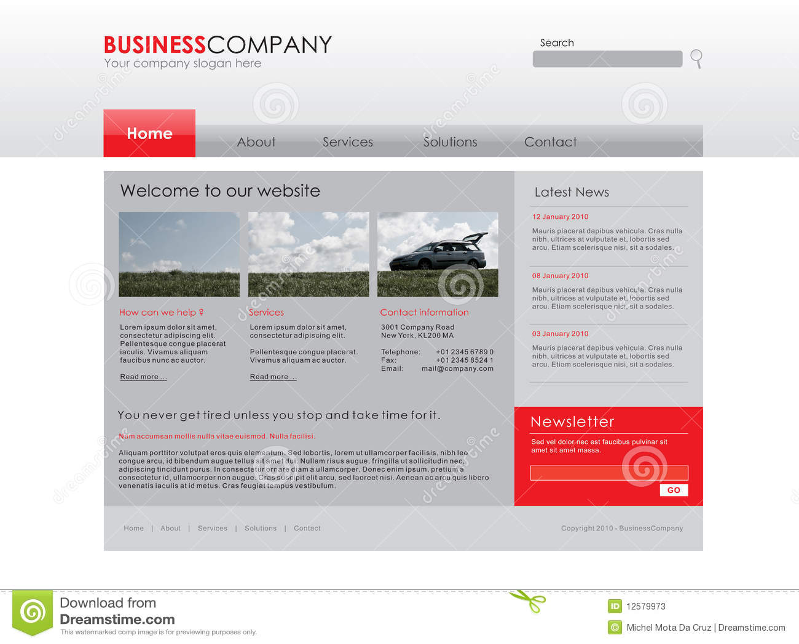 Molde profissional do Web site