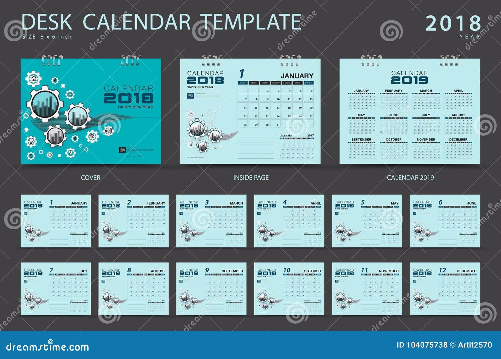 Molde 2018, projeto do calendário de mesa azul da tampa