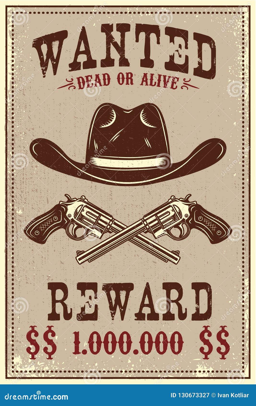 Molde querido do cartaz Chapéu de vaqueiro e revólveres no fundo do grunge Projete o elemento para o cartaz, cartão, bandeira, in