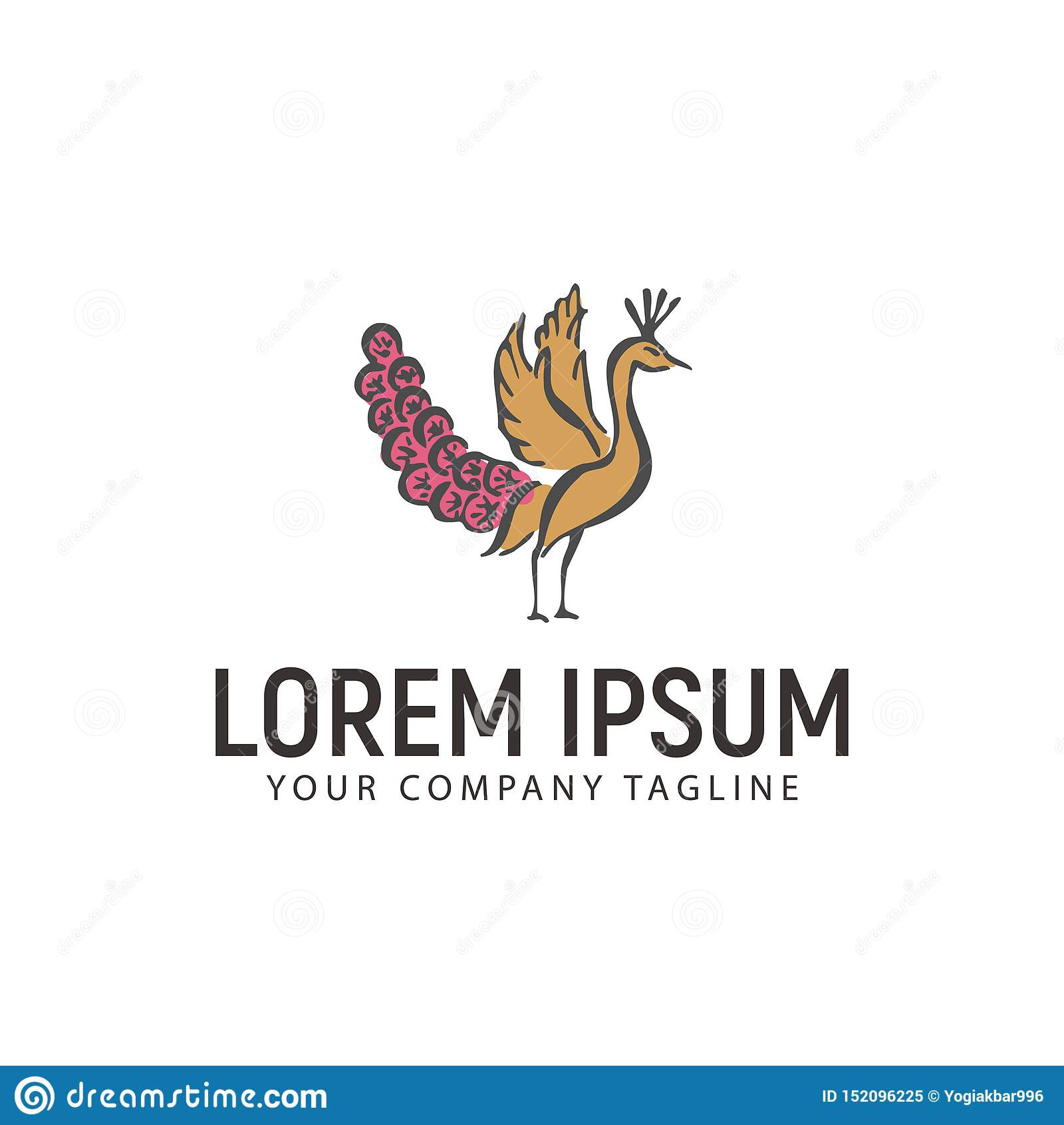 Molde tirado mão do conceito de projeto do logotipo do pavão